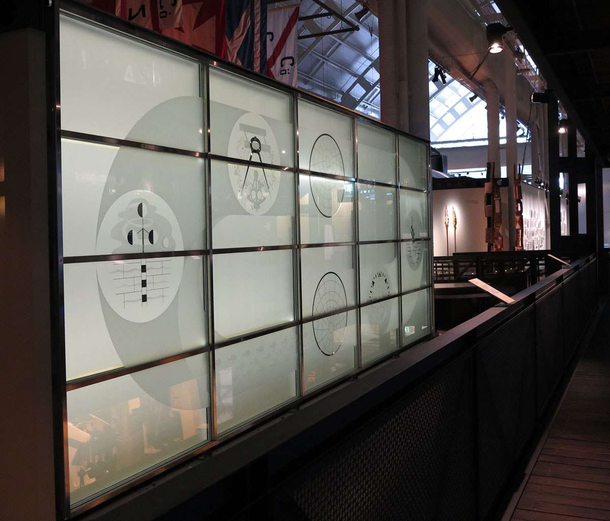 Panels from the Orient Line Building design by Lynton Lamb - on display at the Australian National Maritime Museum.