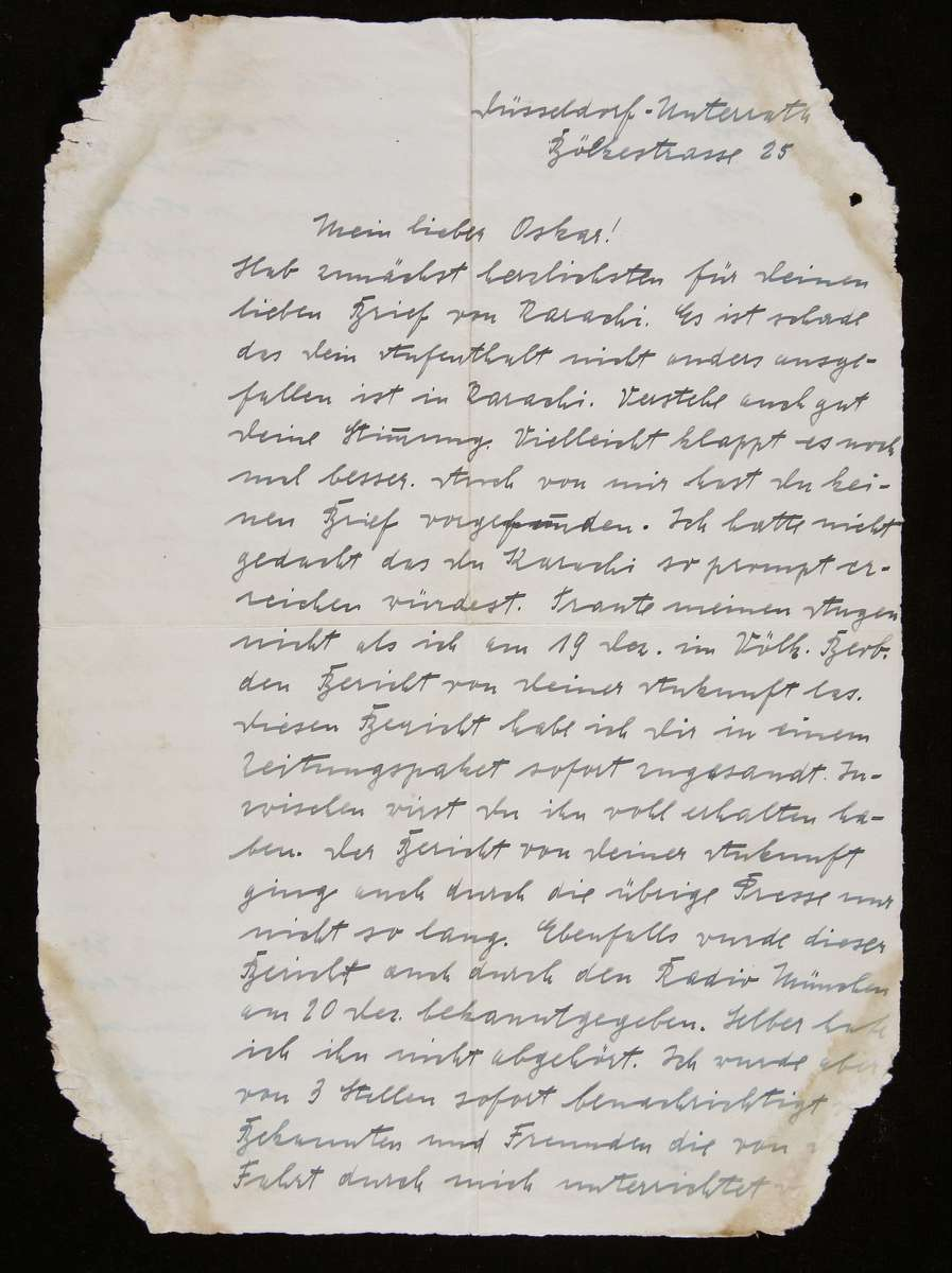 Letter to Oskar from his friend Georg Puschel dated 1935