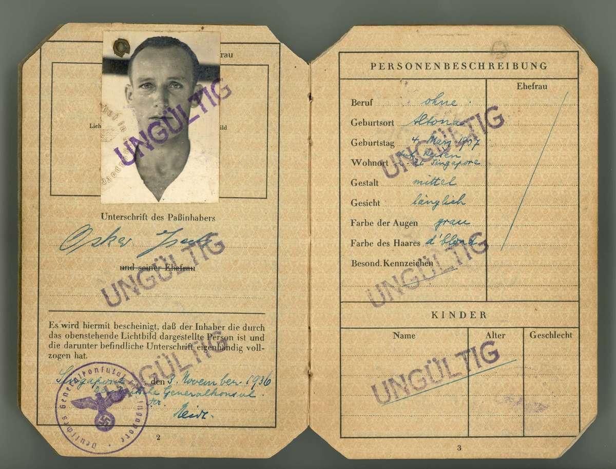 Oskar passport. ANMM collection