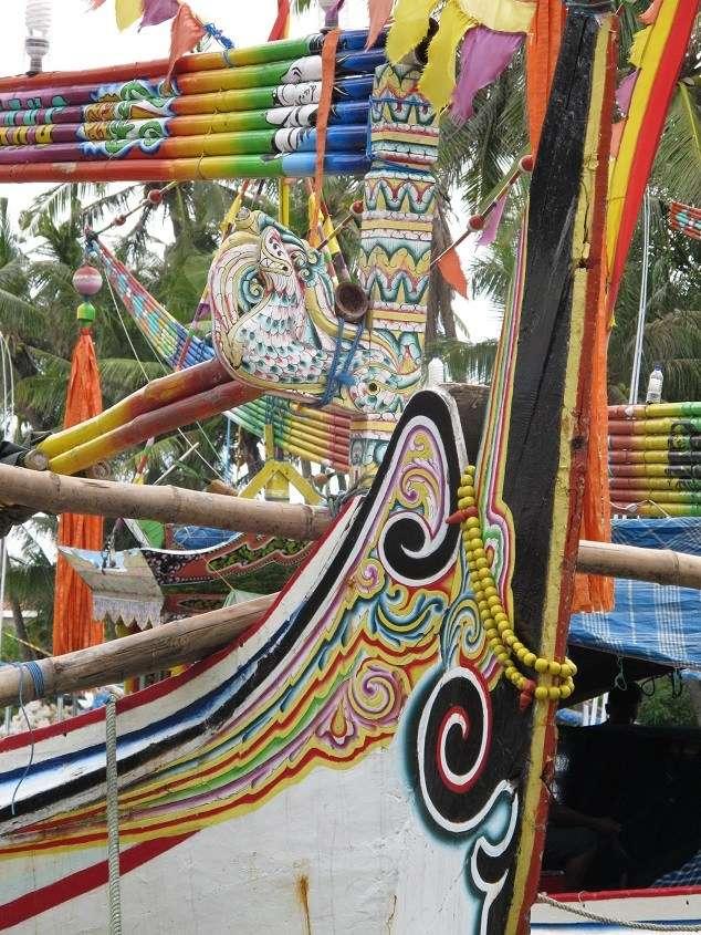 Ceremonial stem post, perahu selerek, Pasean, Madura. Jeffrey Mellefont, 2015