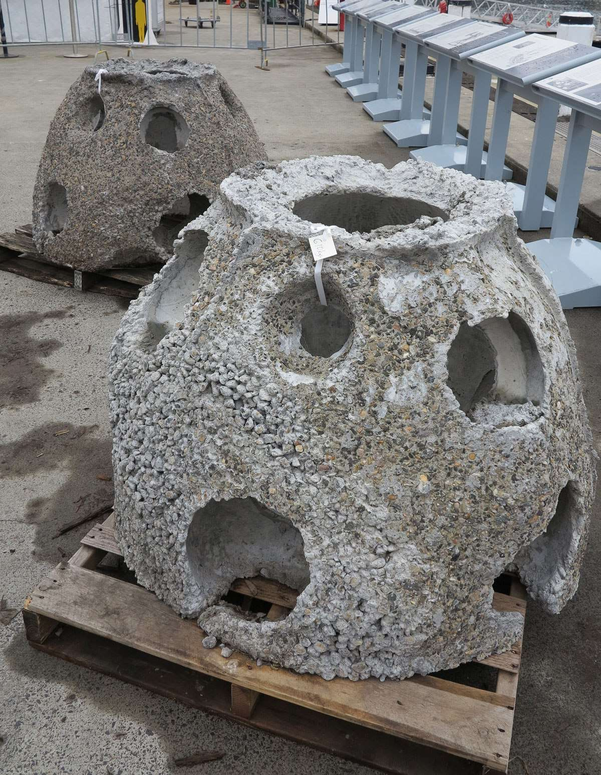 Two Reef Balls waiting for installation at the Australian National Maritime Museum