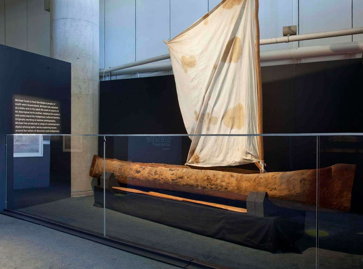 Dugout canoe on display in Undiscovered at the Australian National Maritime Museum.