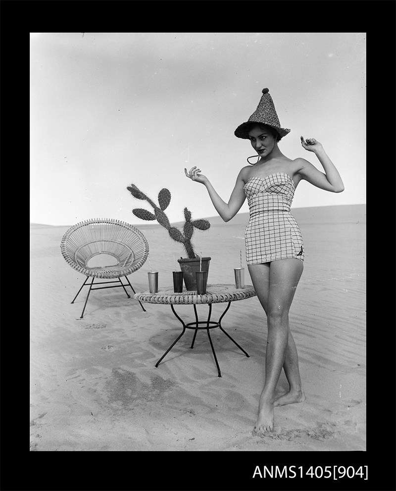 Woman modelling swimwear, Gervais Purcell 15 August 1953