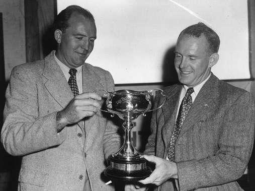 Magnus & Trygve Halvorsen with one of their winning Sydney Hobart trophies.