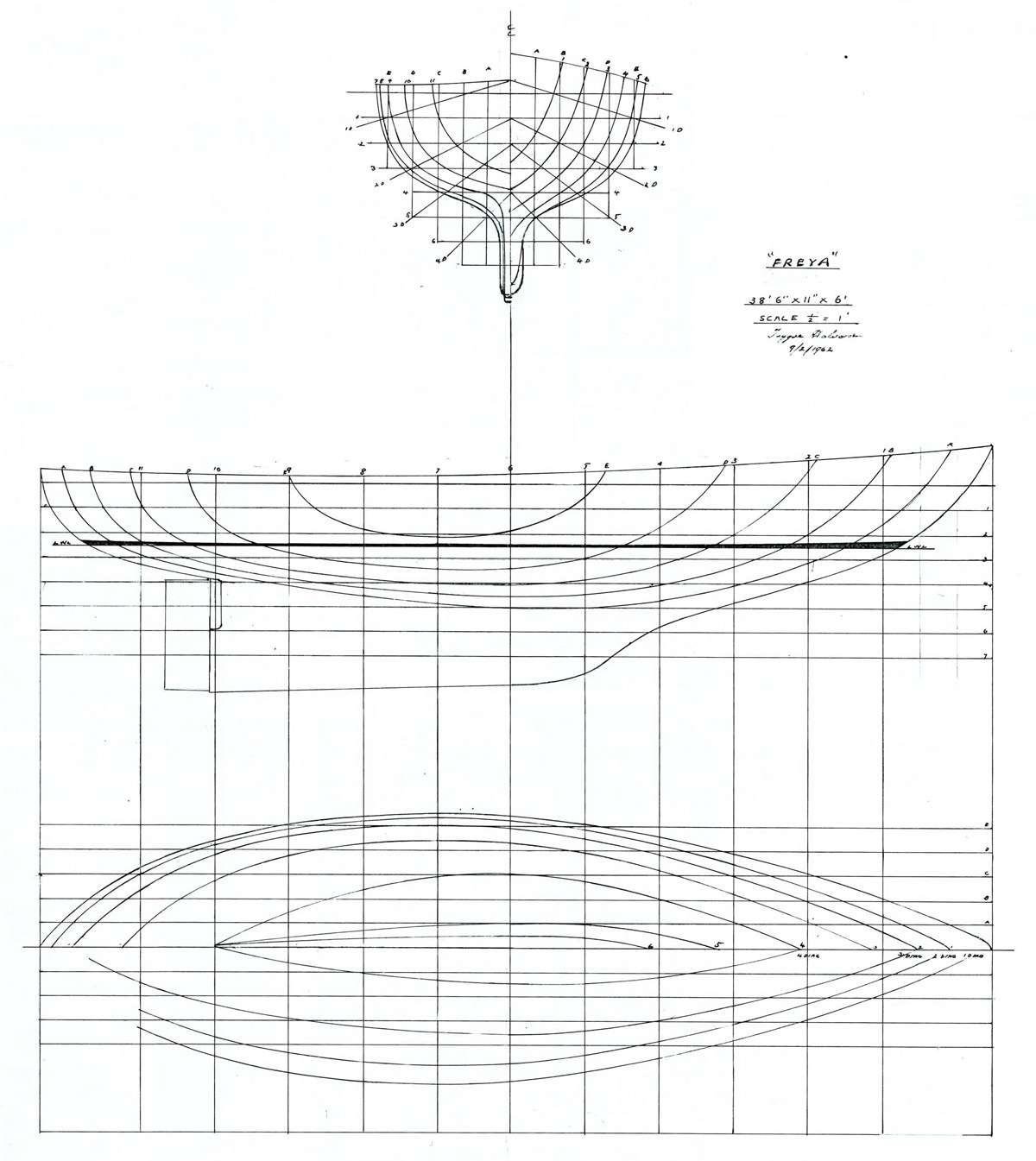 Lines plan for Freya