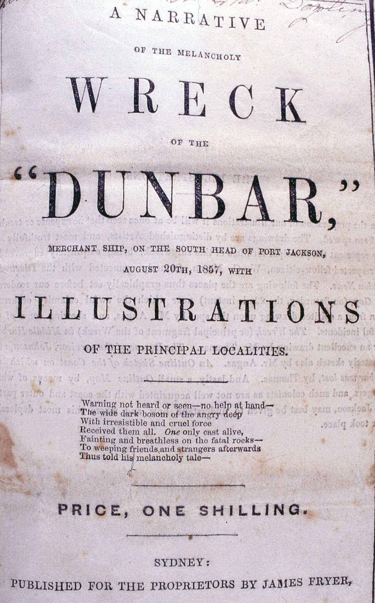 """<em>A Narrative of the Wreck of the</em> Dunbar, 1857. ANMM Collection, <a href=""""http://collections.anmm.gov.au/objects/39693/a--narrative-of-the-melancholy-wreck-of-the-dunbar-merchant?ctx=e4d6b179-360e-4161-85c4-b700da6112c5&idx=0"""">00009344</a>."""