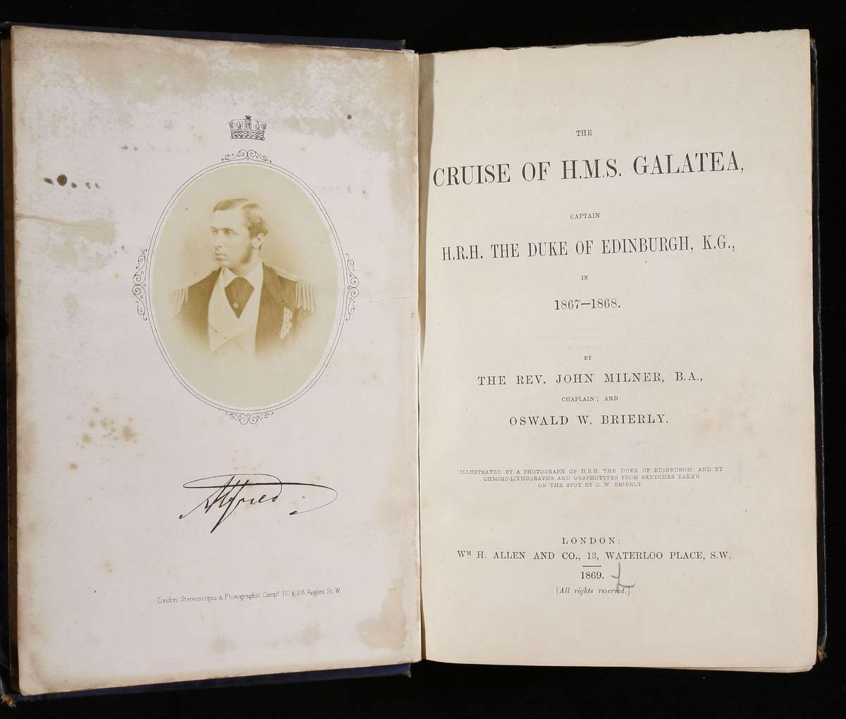 A book, signed by Alfred, commemorating his world tour on the HMAS Galatea, 1869 ANMM collection