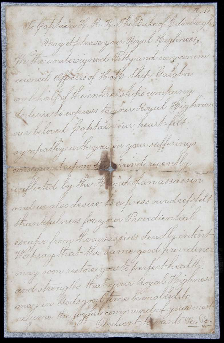The letter from the Galatea crew to their captain the Duke wishing him a speedy recover, 1868. ANMM collection