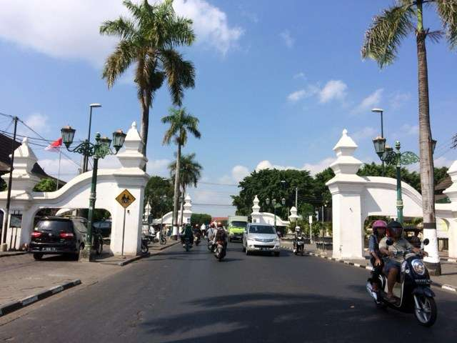 The gates to the Kraton or Sultan's palace at the end of Malioboro street, Yogyakarta