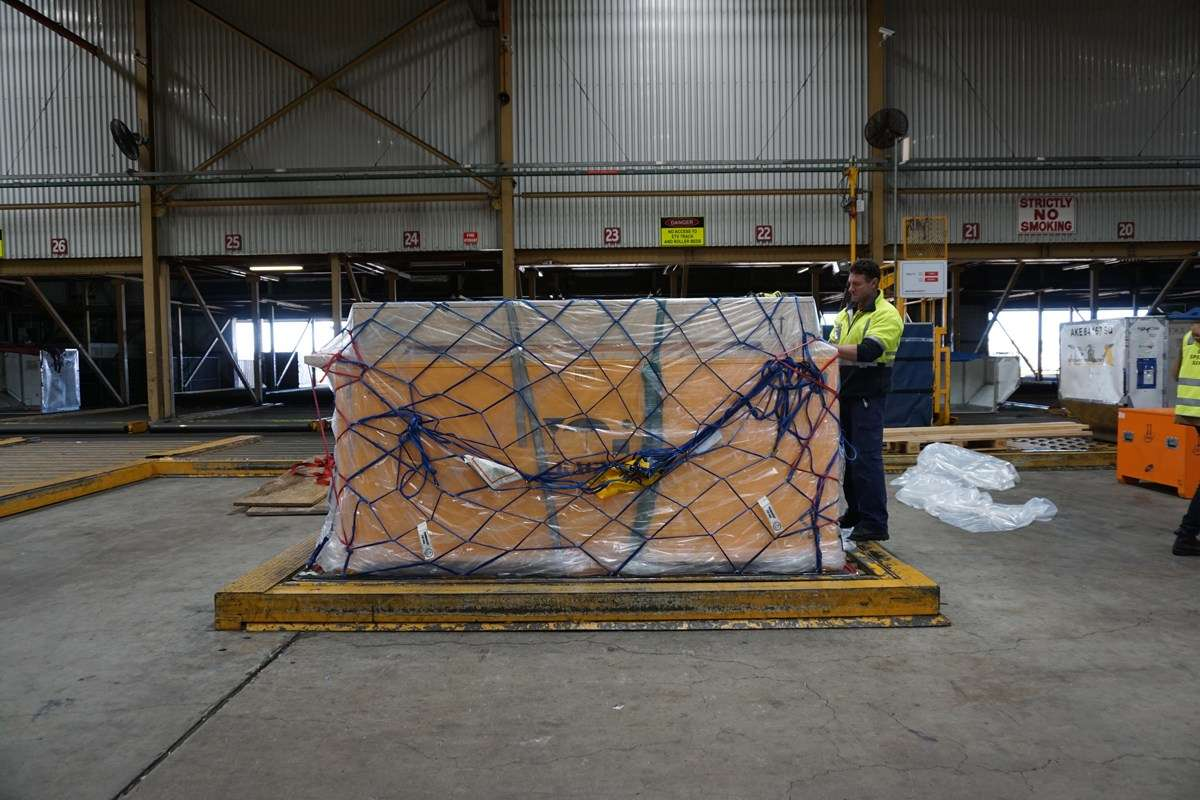 At Mascot airport ANMM crate (bottom) private gallery crate (top) ready to be loaded on flight to Istanbul.