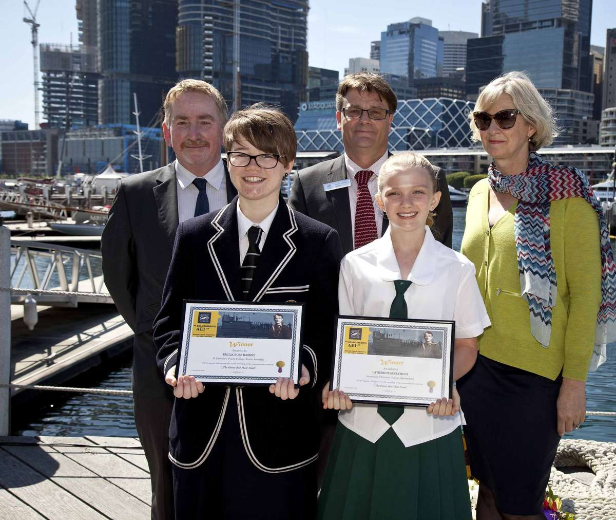 Student speech competition winners Emelia Rose Haskey and Catherine McClymont with ANMM Director Kevin Sumption (centre back) and judges Jeff Fletcher and Daina Fletcher.
