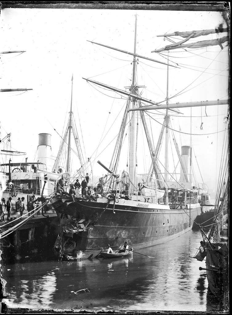 The Barrabool in dock after the collision. Courtesy of the University of Newcastle archives.