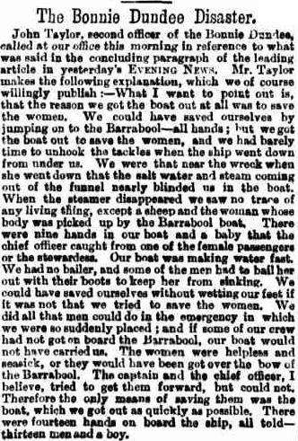 An article from the Evening News appearing immediately after the collision in defence of the crew