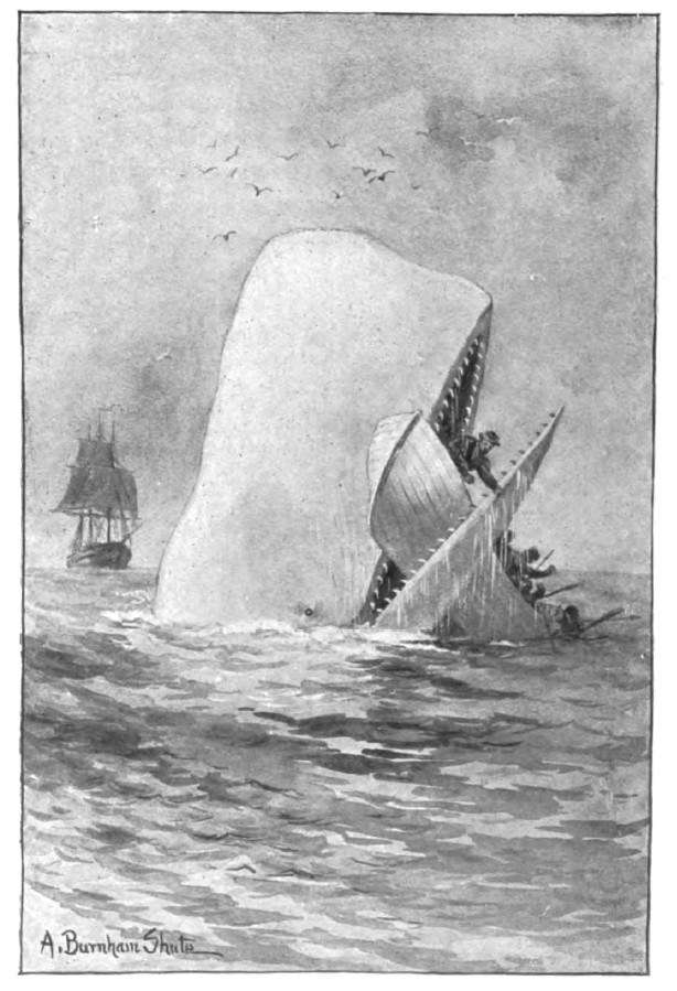 One of the great books of all time set on a boat Moby Dick or The Whale by Herman Melville. Illustration from the C. H. Simonds Co. edition, (date)
