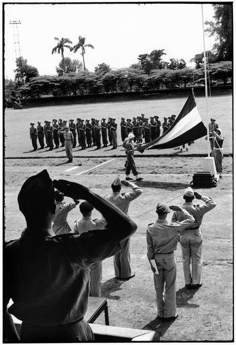 In Solo in 1949, the Dutch flag comes down and the Republican flag is raised at a ceremony in the town stadium.