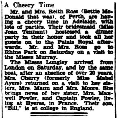A news clipping about Mabel Cherry