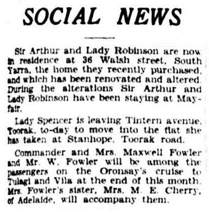 A newspaper clipping from the Argus Social News column dated 24 August, 1934.