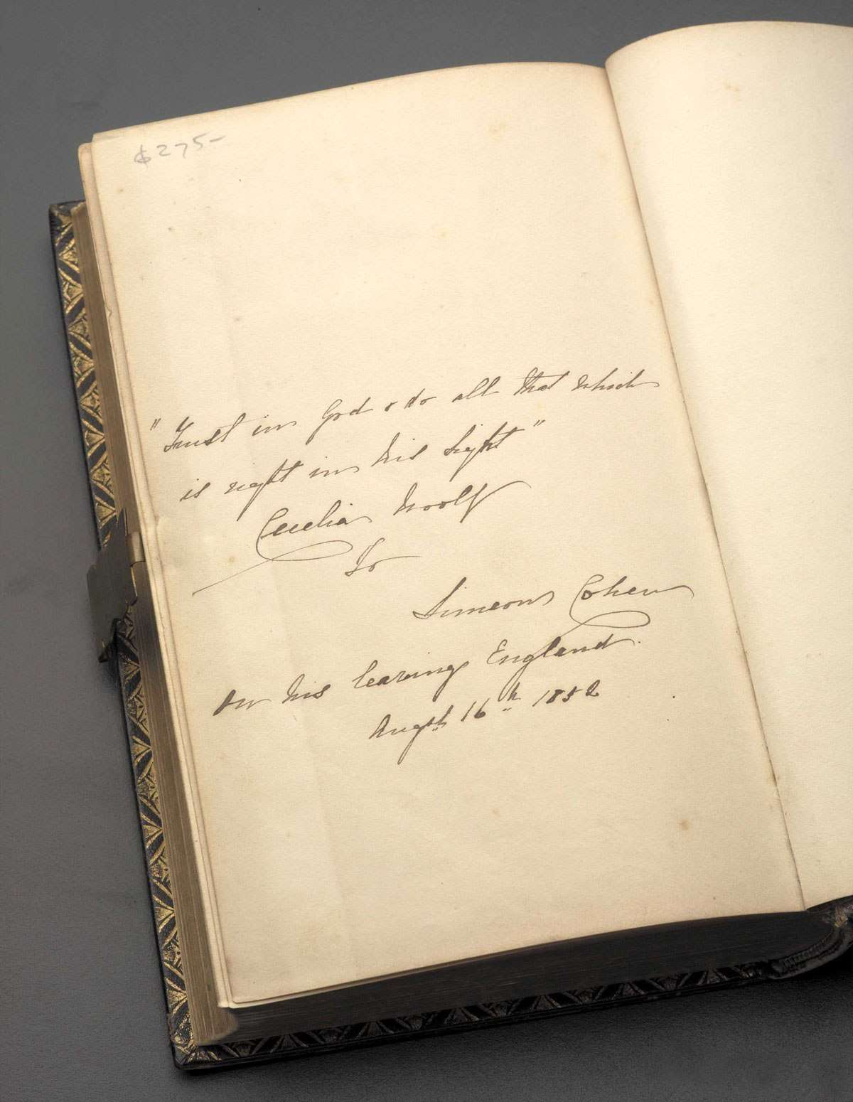 Inscription in Jewish School and Family Bible. The First Part containing the Pentateuch
