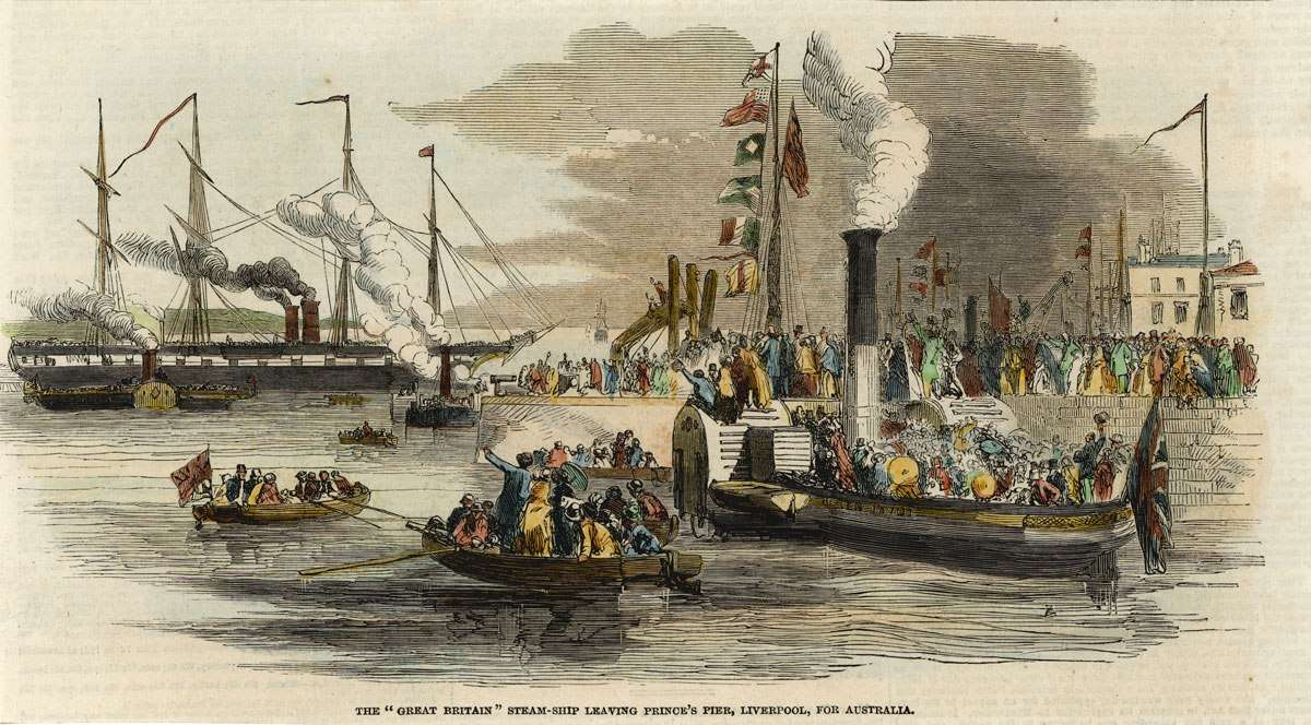 Illustration showing The GREAT BRITAIN steam-ship leaving Prince