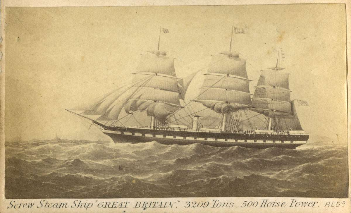 Card with an image of the SS GREAT BRITAIN at sea on the observe, inscribed