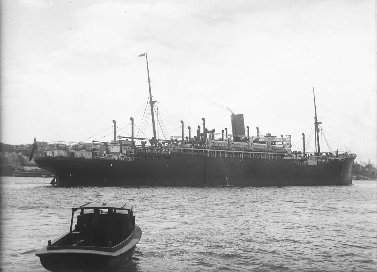 SS Moreton Bay, one of the vessels affected by black bans against Dutch troops returning to Indoneisa after World War II.