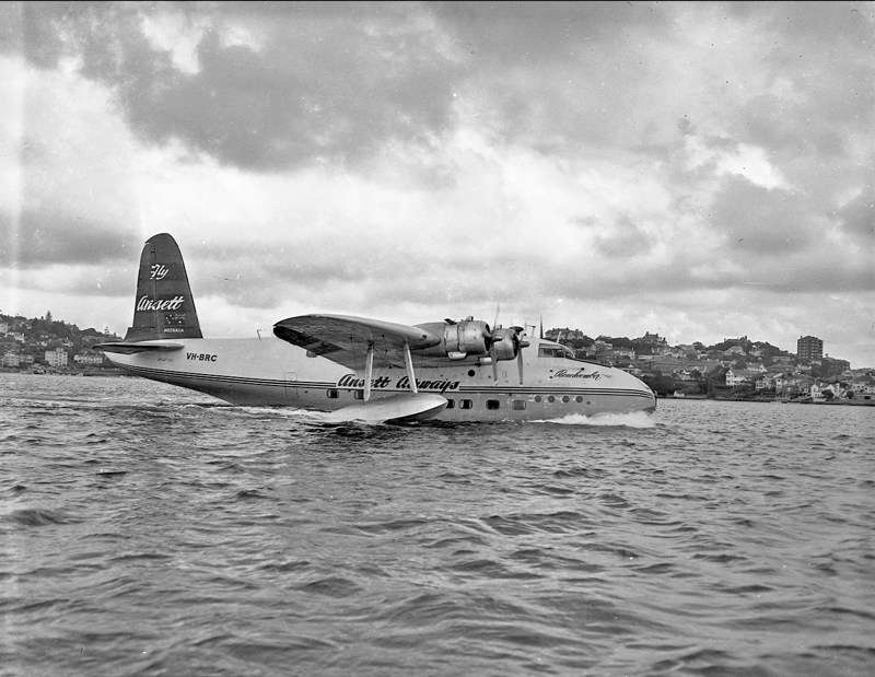 Ansett Airways' flying boat Beachcomber, Sydney Harbour c.1951. ANMM Collection: object number 1404[011] by Gervais Purcell, courtesy of Leigh Purcell.