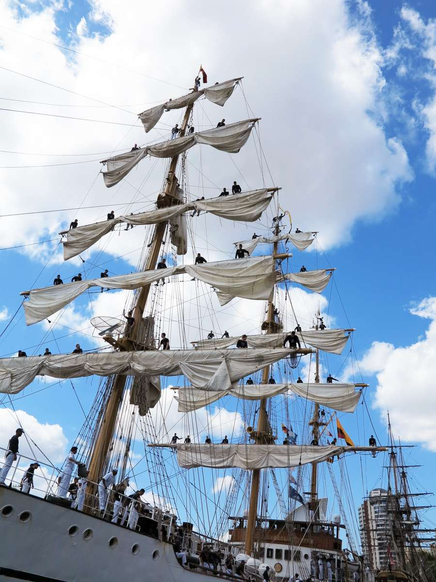 A photo of the crew of Guayas aloft on the mast