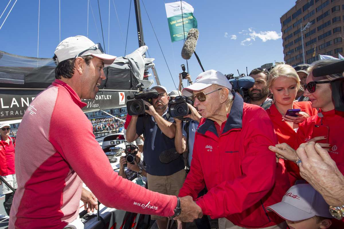 WILD OATS XI, 2014 Owner: Robert Oatley right and Skipper: Mark Richards, left. Photo by Carlo Borlenghi / Rolex.