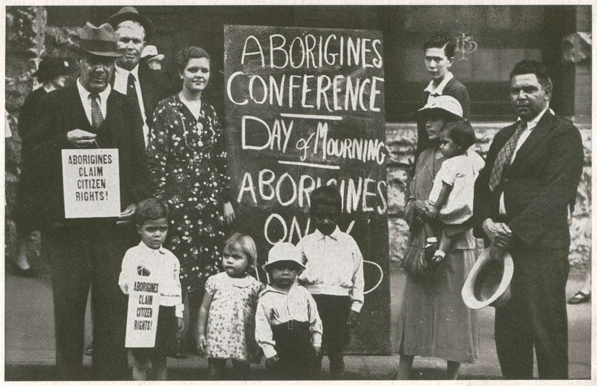 Day of Mourning protesters outside the Australia Hall, 26 January 1938. Mitchell Library, State Library of New South Wales