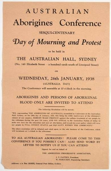 Day of Mourning and Protest pamphlet. Mitchell Library, State Library of New South Wales