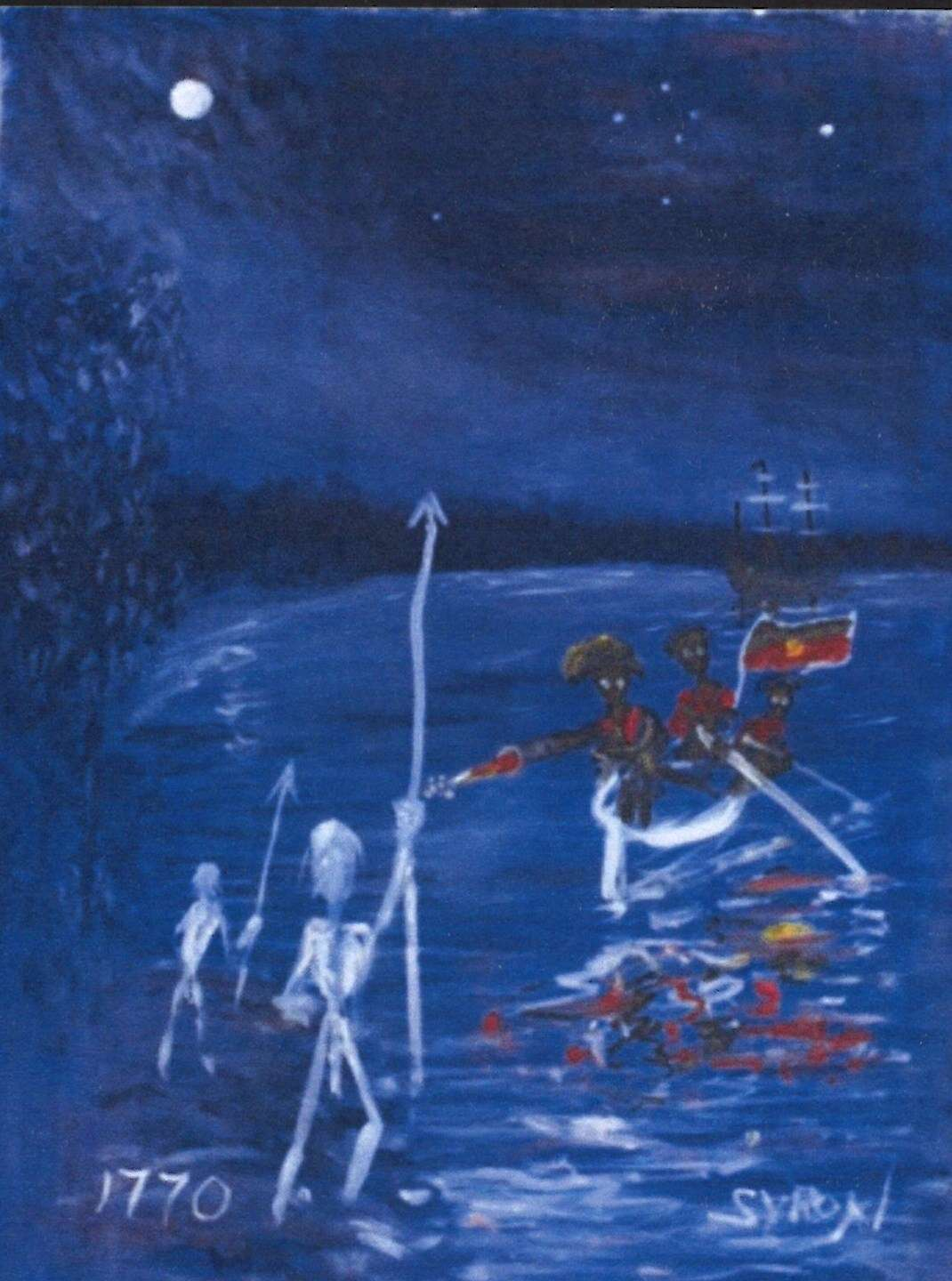 This 2013 painting by Indigenous artist Gordon Syron, titled 'Black bastards are coming', reimagines the first arrival of Europeans on the east coast of Australia by juxtaposing Aboriginal warriors with British military. This role reversal has been a common thread in Indigenous art and other cultural production – asking the question 'how would you feel if it was you who were invaded?'. ANMM Collection