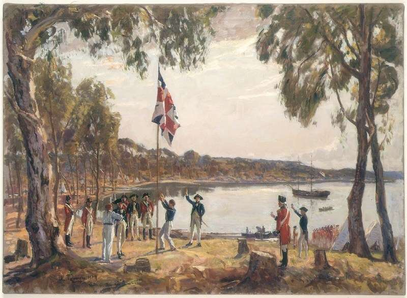 The Founding of Australia by Captn Phillip R N 26th January 1788. Algernon Talmadge, 1937. Mitchell Library, State Library of New South Wales