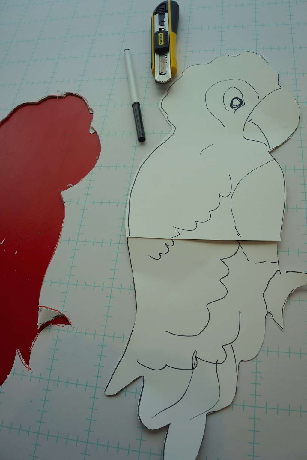 cutting out parrot template