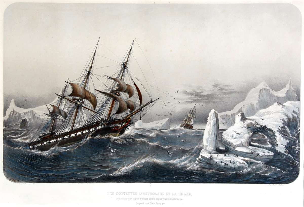 Astrolabe and Zelee in a gale, in the Antarctic Circle in January 1840. ANMM collection 00032388.