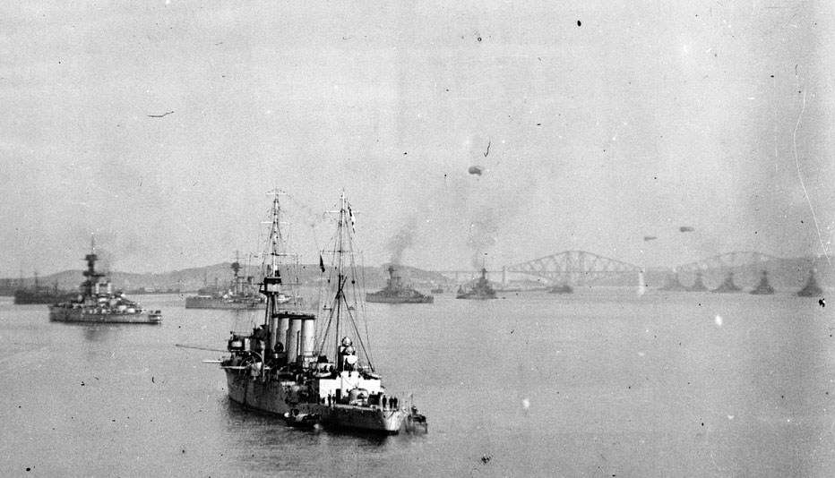 HMAS Sydney in the Firth of Forth when she was operating in the North Sea as part of the part of the British Grand Fleet. Image: author's collection.