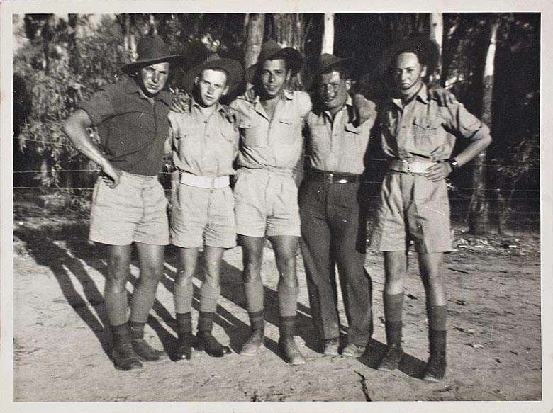 The 8th AEC. Boys of the Company. From left to right; Fred Broch, Walter Morstaedter, Altschol, Gussman and G. Sonneald, c. 1943. Courtesy of the Jewish Museum of Australia.