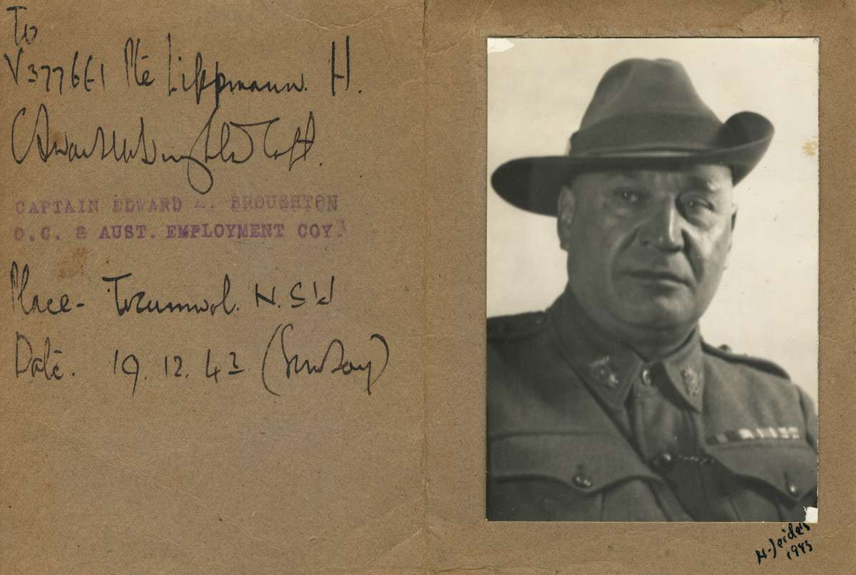 Photograph of Captain 'Tip' Broughton addressed to Private Heinz Lippmann, Tocumwal, New South Wales. 19 December, 1943. These were sent to each enlistee at the time of their discharge from the 8th AEC. ANMM Collection ANMS0221[005].