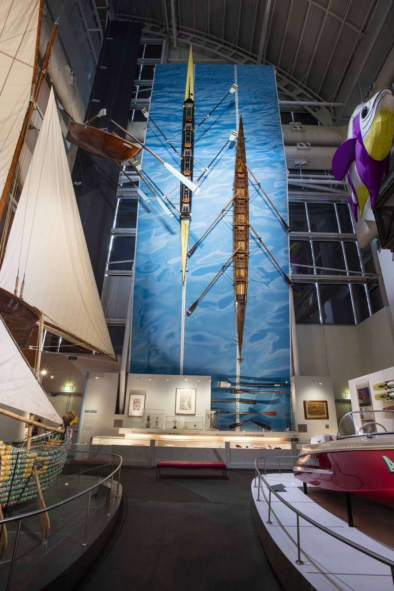Racing shells and oars on display in the Watermarks gallery. Image: ANMM.