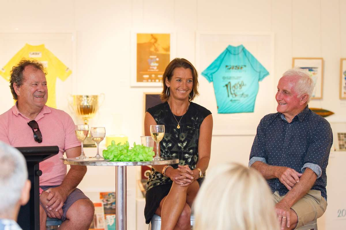 Pete Townend, Layne Beachley and Bob McTavish. Image: Your Life Photography, Noosa Regional Gallery, 2016.