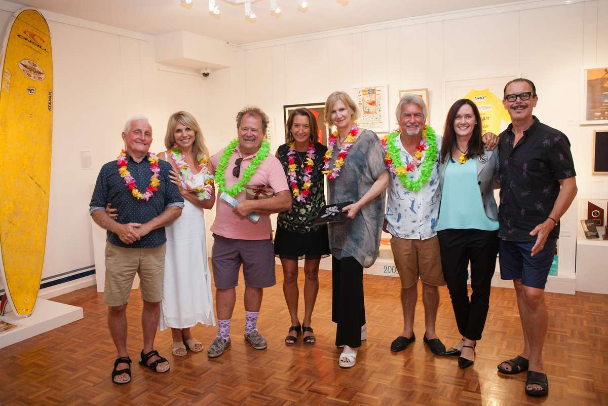 Speakers at the exhibition launch, Bob and Linda McTavish, Pete Townend, Layne Beachley, Daina Fletcher, Phil Jarrett, Gallery Director Nina Shadforth and Kirk Pengilly. Image: Your Life Photography, Noosa Regional Gallery, 2016.