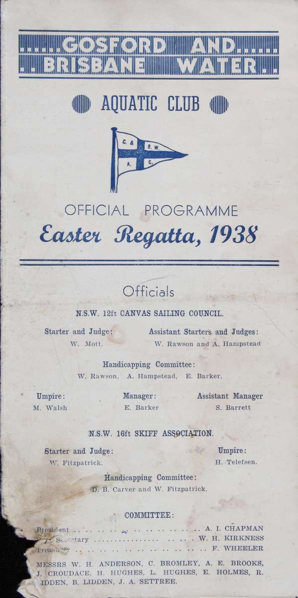 Gosford and Brisbane Water Aquatic Club Easter Regatta, 1938. ANMM Collection