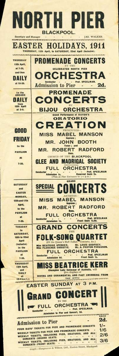 Easter program at North Pier, 1911 with Beatrice Kerr performing. ANMM Collection ANMS1026[079].