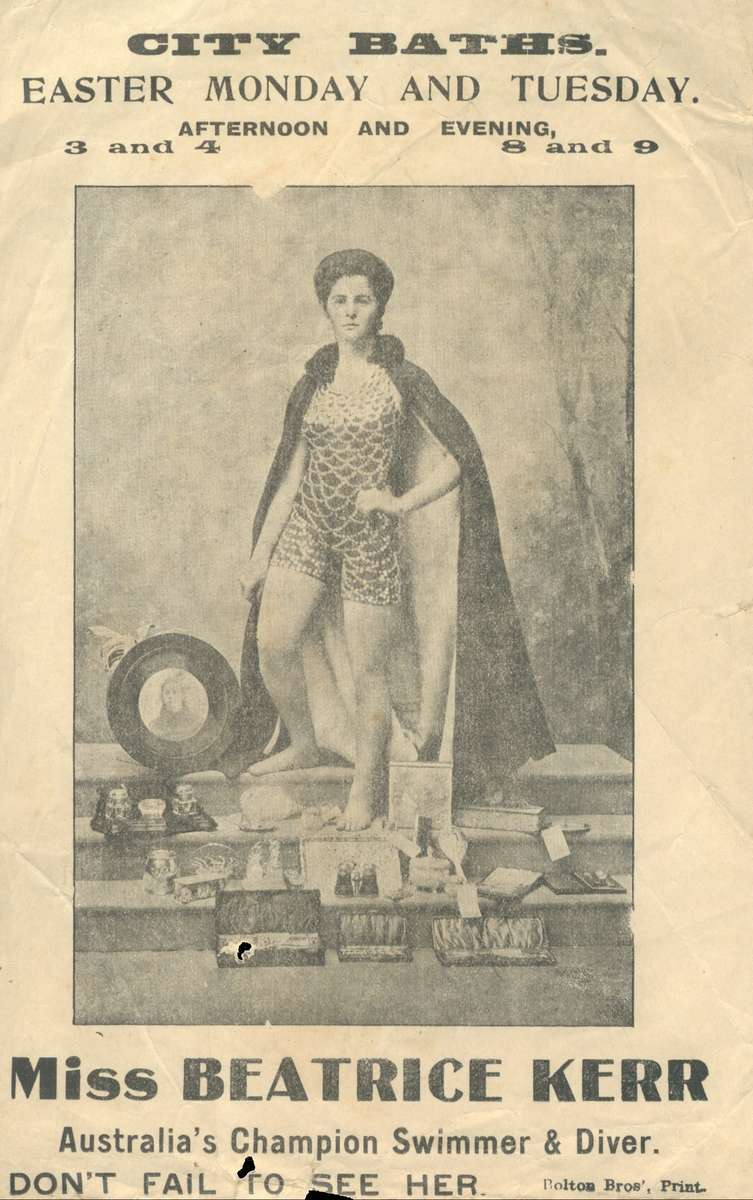 Beatrice Kerr in her trademark swimsuit. ANMM Collection ANMS1030[046].