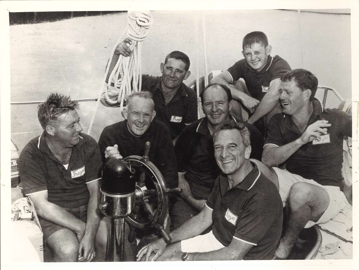Freya and the crew. From left to right: Keith Brown, Trygve Halvorsen, Trevor Gowland, Magnus Halvorsen, Stan Darling, Barry Gowland and Stan McRae. ANMM Collection ANMS0155[110] .