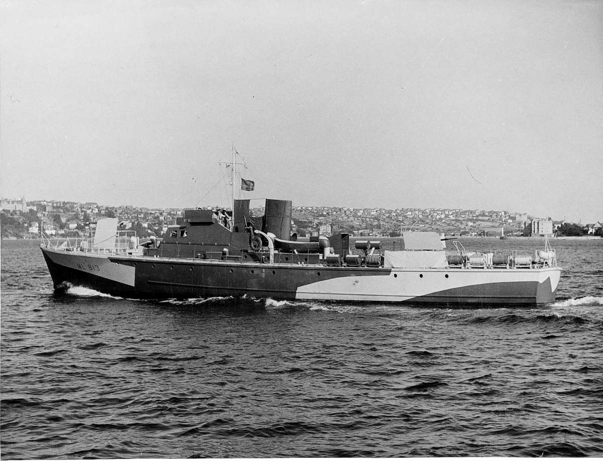 The 112 foot Fairmiles ML813-ML814 were designed and built by Lars Halvorsen Sons Pty Ltd for the Royal Australian Navy and were completed in 1942. Image: ANMM Collection ANMS1151[316].