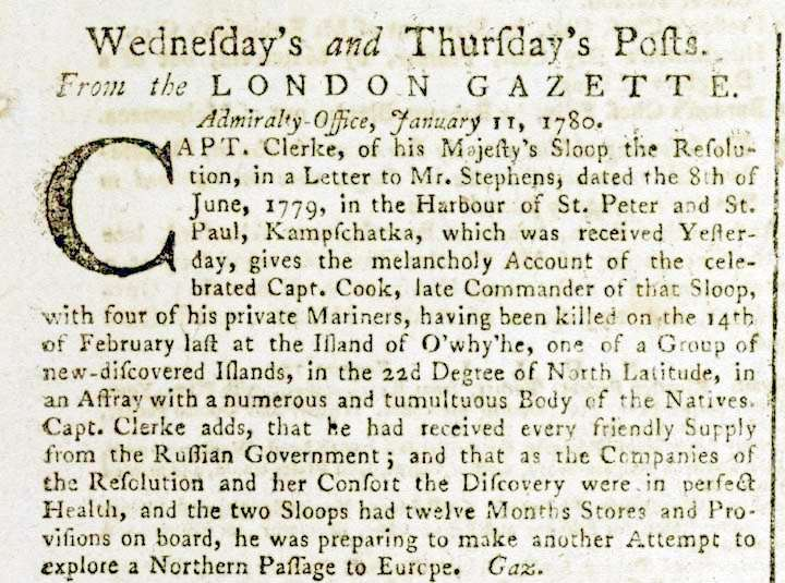 Death announcement of Captain Cook in the London Gazette, 18 January, 1780 (source – British Library)