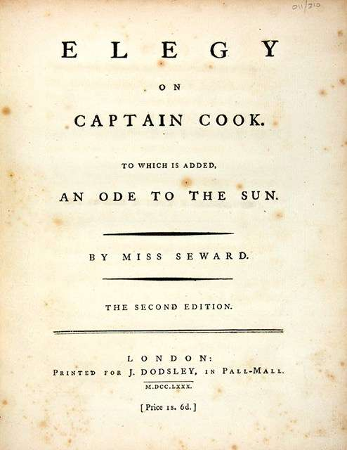 'Elegy to Captain Cook' by Anna Seward (ANMM Collection 00003933)