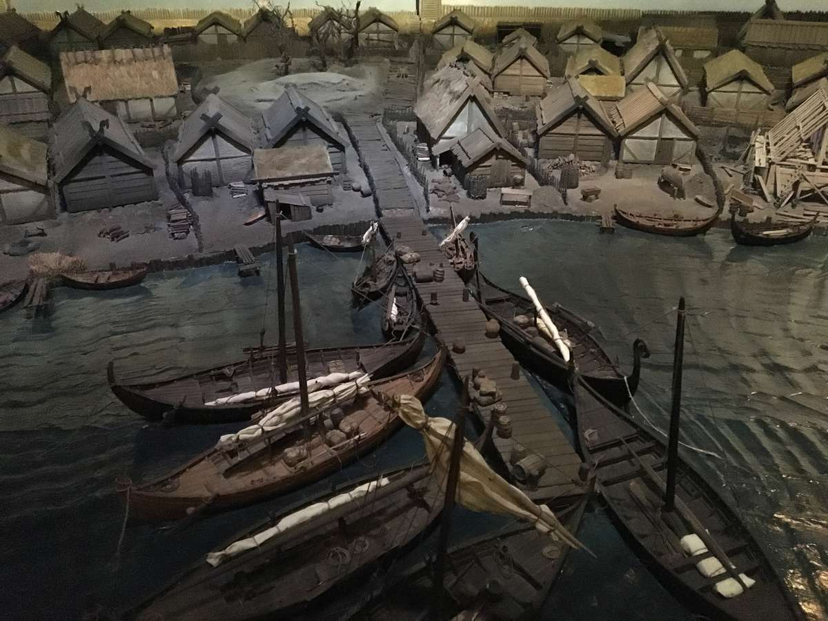 This diorama reconstruction of Birka, based on evidence of some compact plots, shows a well ordered township. More recent investigation suggests it may not have been so compact and orderly.