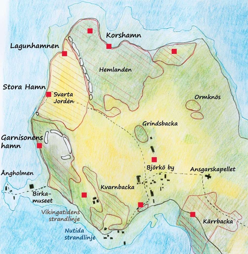 The Birka-Hovgården sites have been effected by postglacial landrise, which has lowered the shoreline of Lake Mälaren by around 5 metres since the year 800, and elements of Viking Age harbour construction can now be found on land.