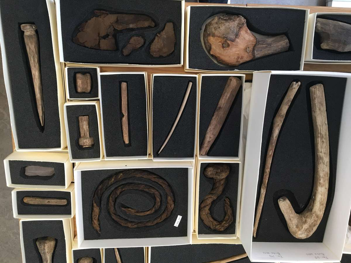 Some of the majority of finds of wooden artefacts along with some rope finds.